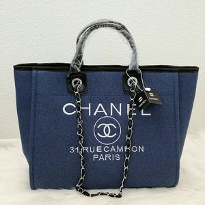 Chanel tote bag canvas silver hardware